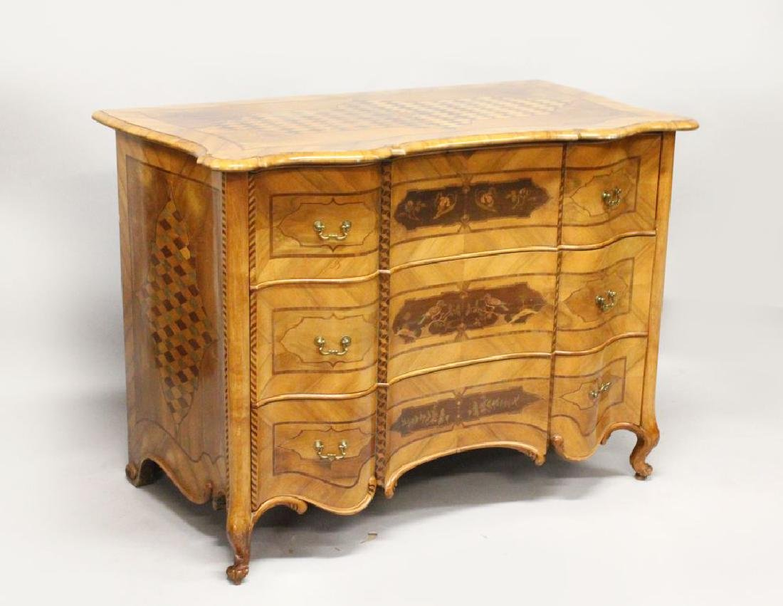 AN 18TH CENTURY FRENCH WALNUT AND MARQUETRY COMMODE,