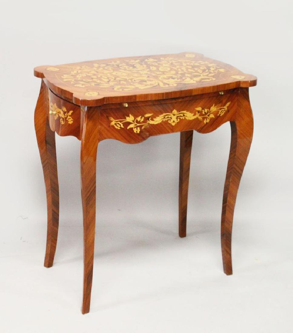 A LOUIS XVI STYLE INLAID KING WOOD OCCASIONAL TABLE,