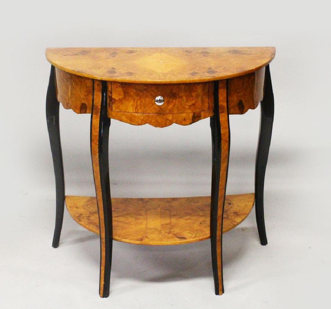 AN ART DECO STYLE BURR WOOD DEMI-LUNE CONSOLE TABLE,