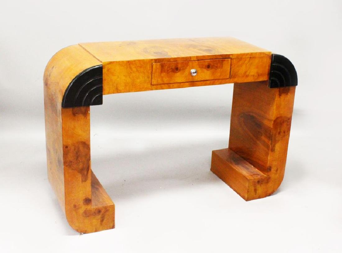 AN ART DECO STYLE BURR WOOD CONSOL TABLE, with a small