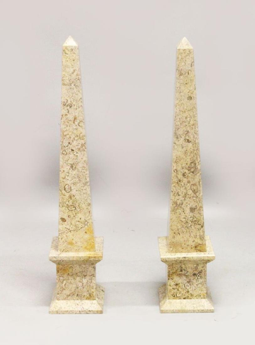 A PAIR OF MARBLE OBELISKS 3ft 1in high