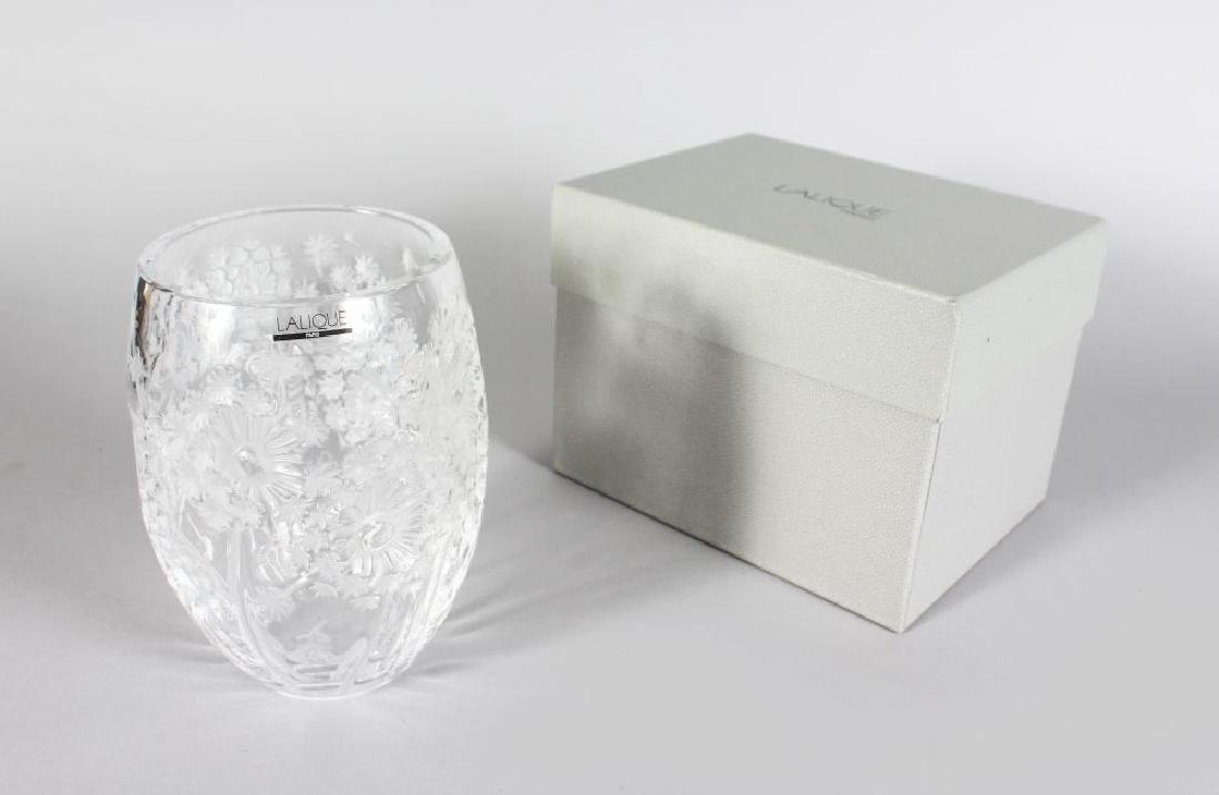 """A LALIQUE """"BUCOLIQUE"""" FLOWER VASE, etched Lalique"""