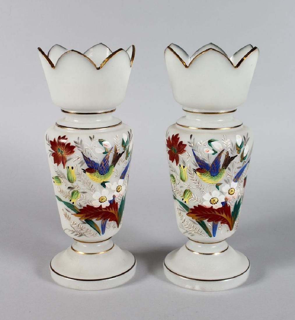 A GOOD PAIR OF VICTORIAN FROSTED VASES, painted with