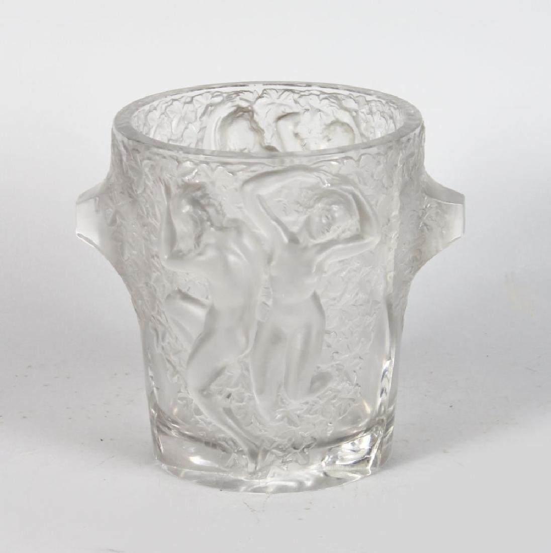 A LALIQUE ICE BUCKET, with two pairs of female nudes