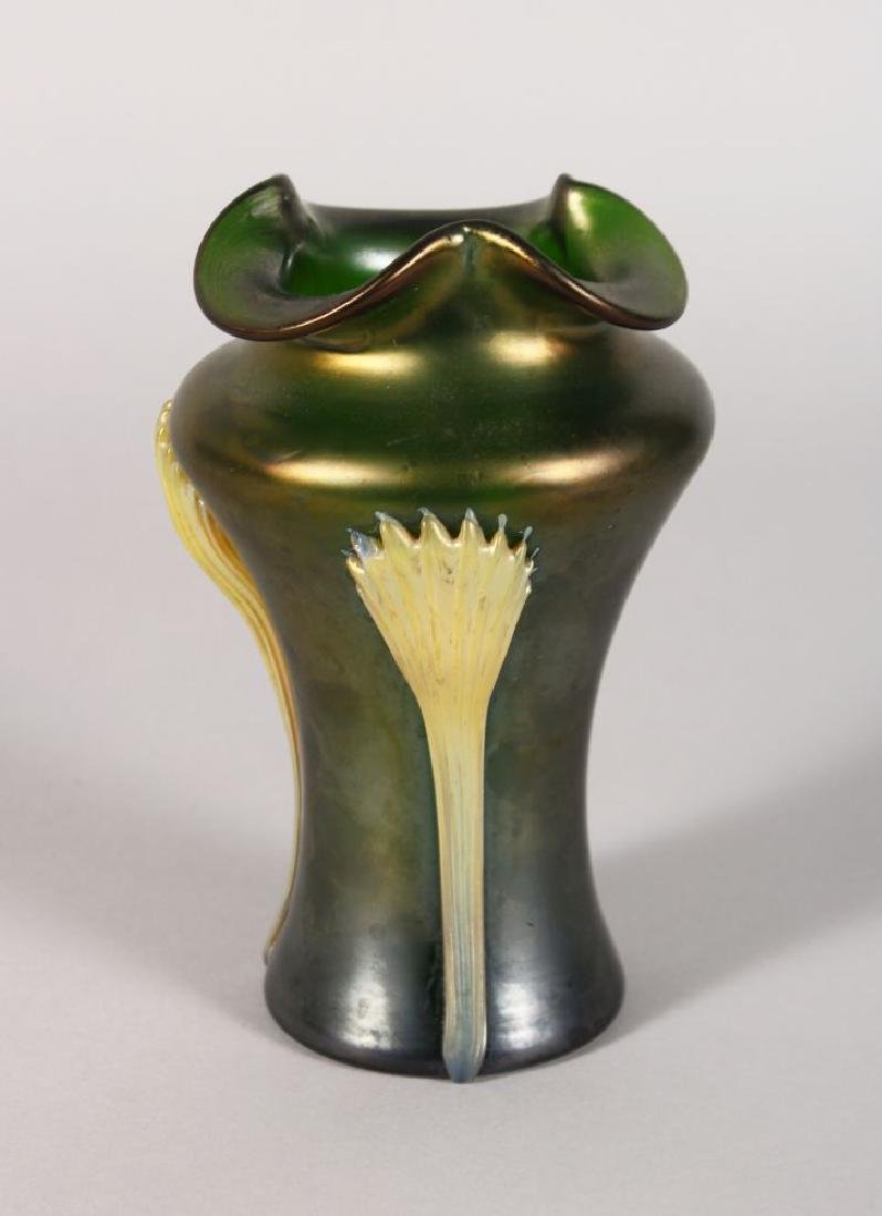A LOETZ STYLE GLASS VASE, with three applied motifs 6in