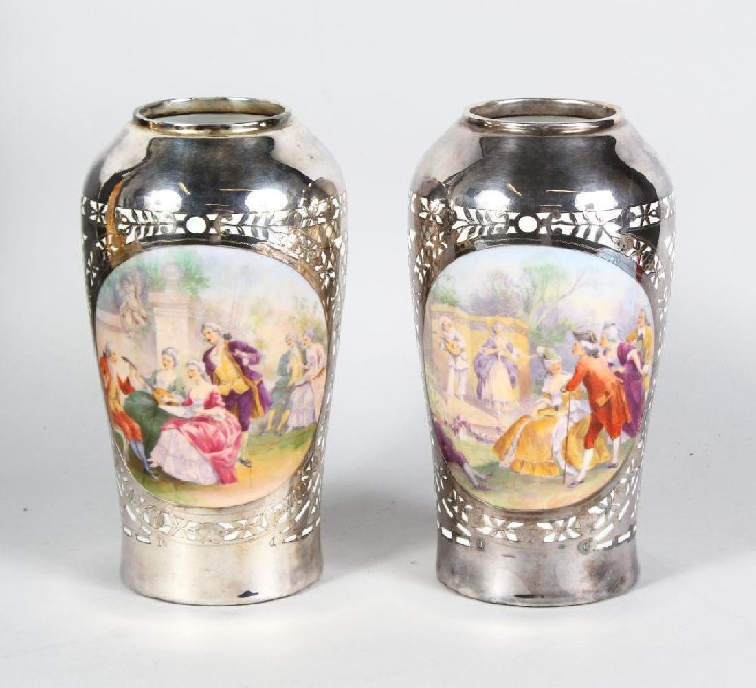 A GOOD PAIR OF FRENCH SILVER OVERLAY VASES, painted