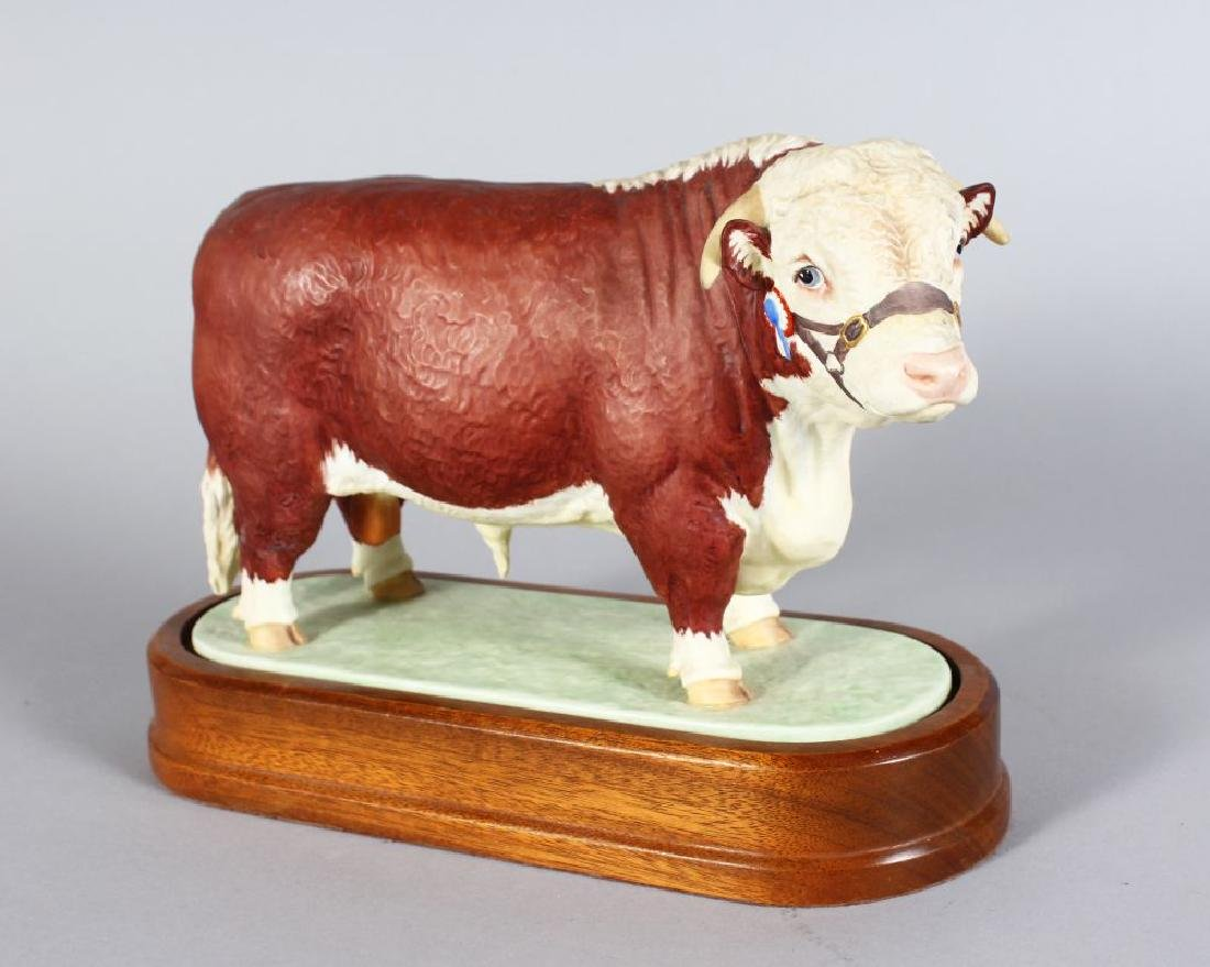 A ROYAL WORCESTER HEREFORD BULL, modelled by DORIS