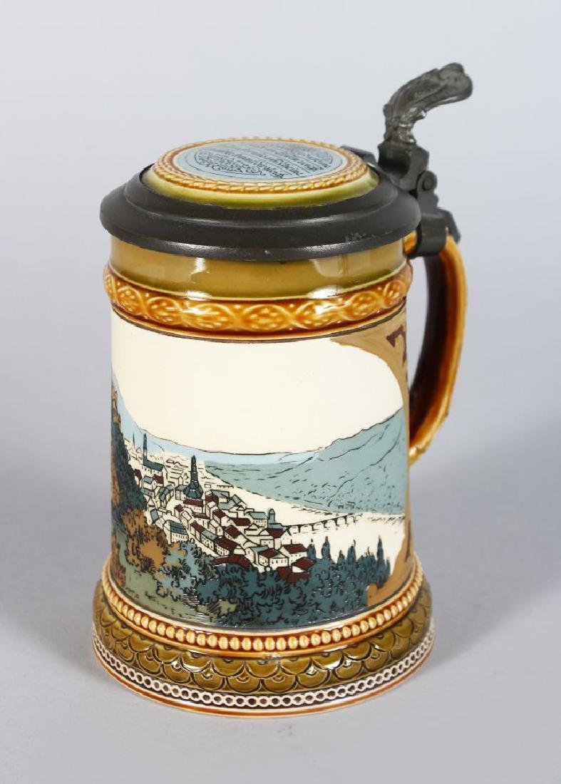 A GOOD METTLACH POTTERY TANKARD, decorated with a