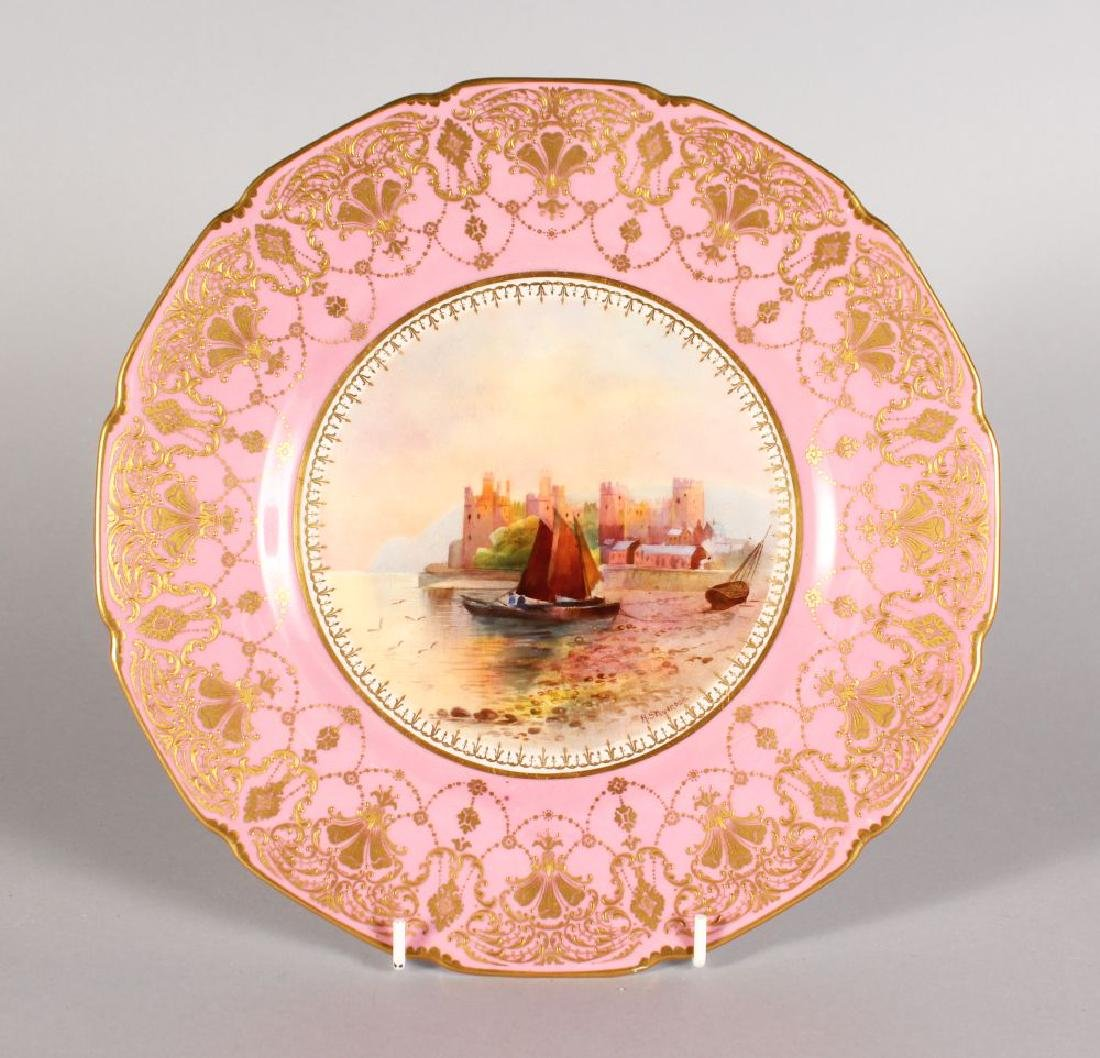 """A ROYAL DOULTON PLATE """"CONWAY CASTLE"""" painted by H"""