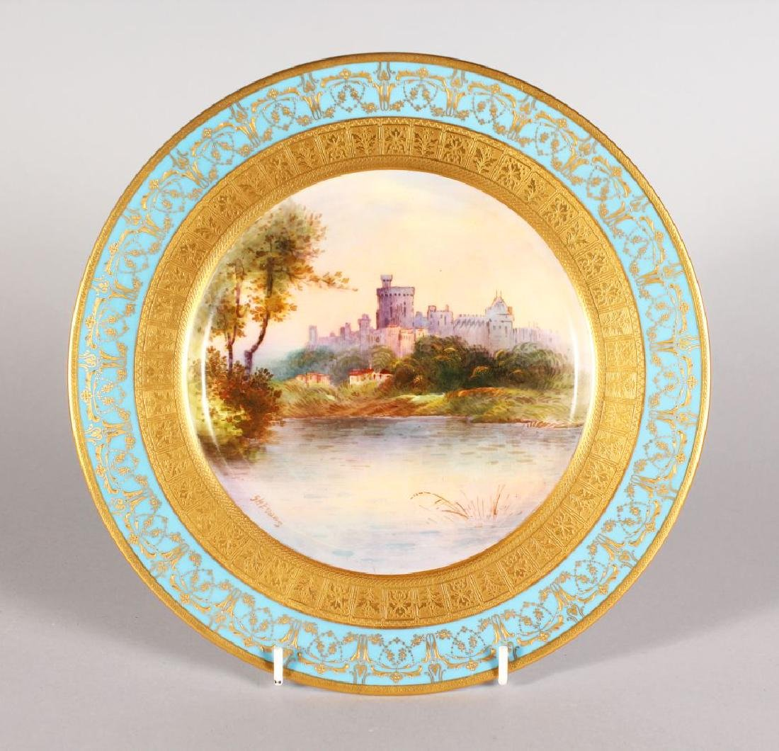 "A ROYAL DOULTON PLATE ""WINDSOR CASTLE"" PAINTED BY S H"