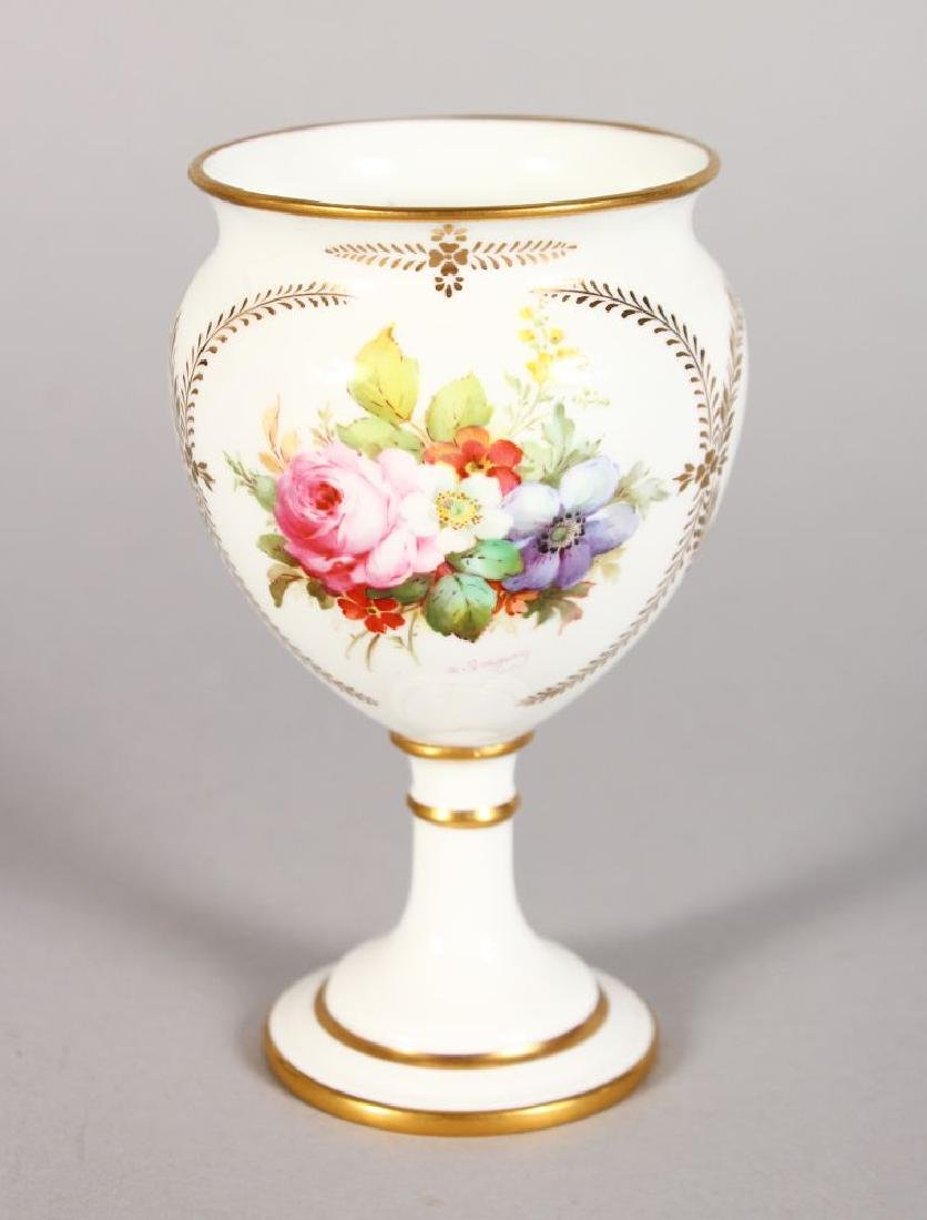 A ROYAL CROWN DERBY PEDESTAL VASE, painted with flowers