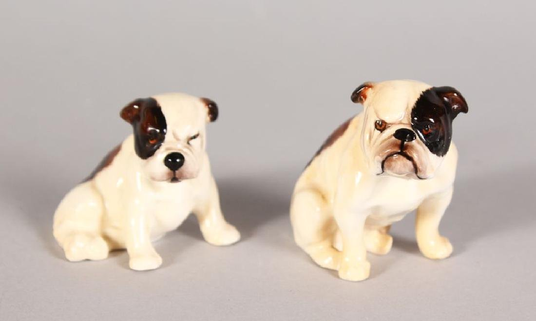 TWO STANDING ROYAL DOULTON BULL DOGS, 2in and 1.75in
