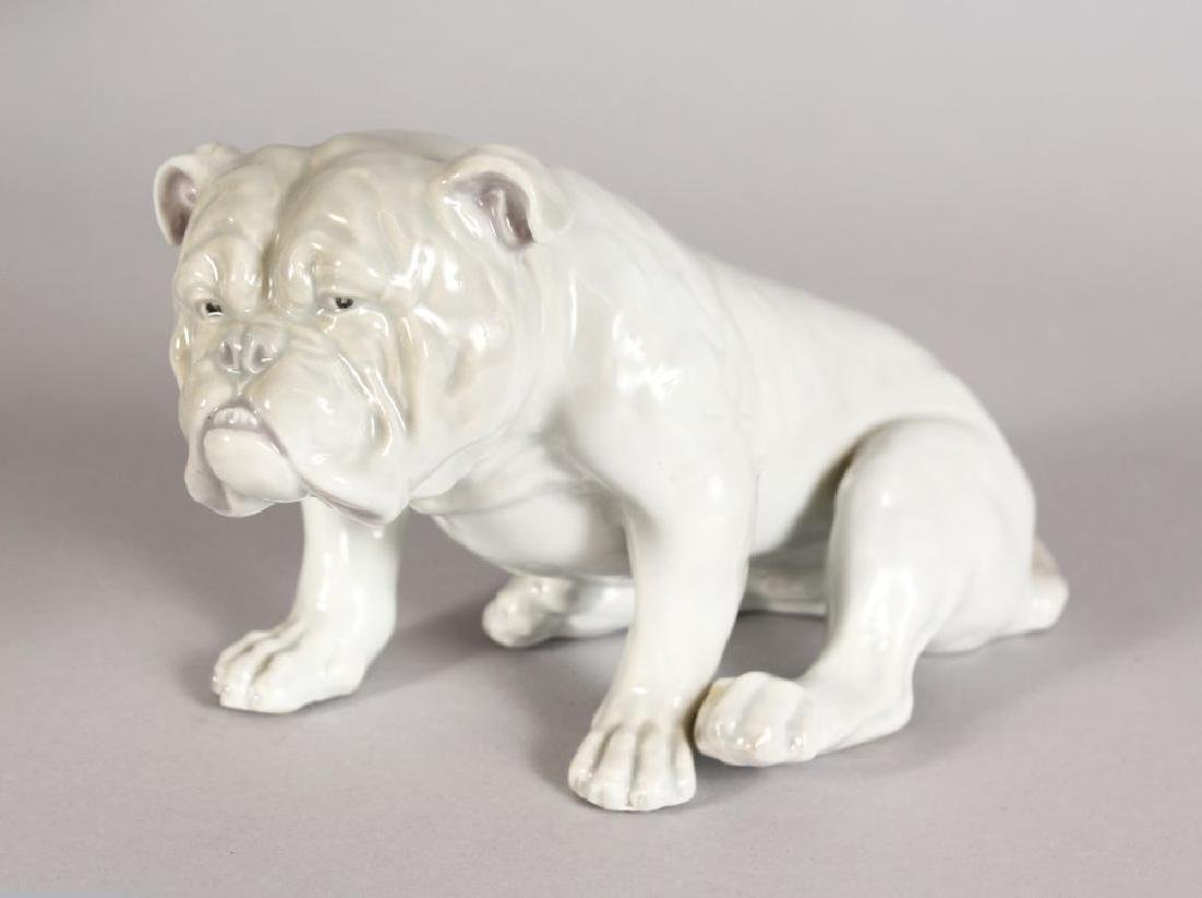 A CONTINENTAL PORCELAIN BULL DOG, 4in high
