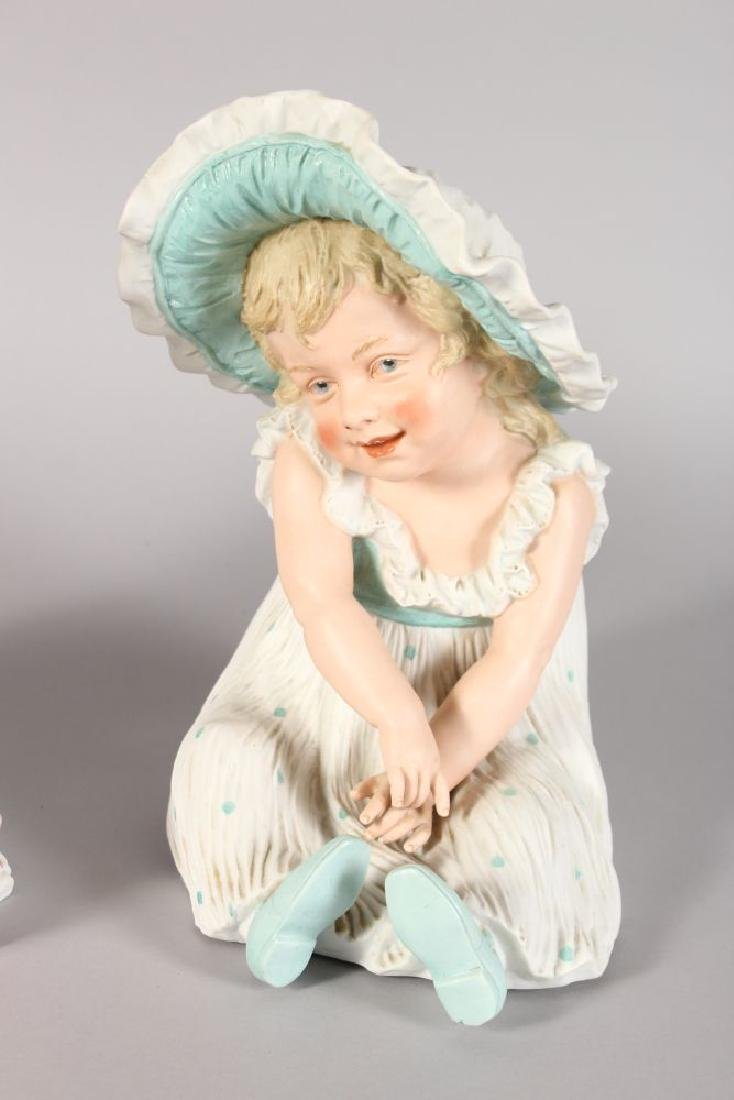 A LARGE PAIR OF VICTORIAN CONTINENTAL BISQUE SEATED - 3