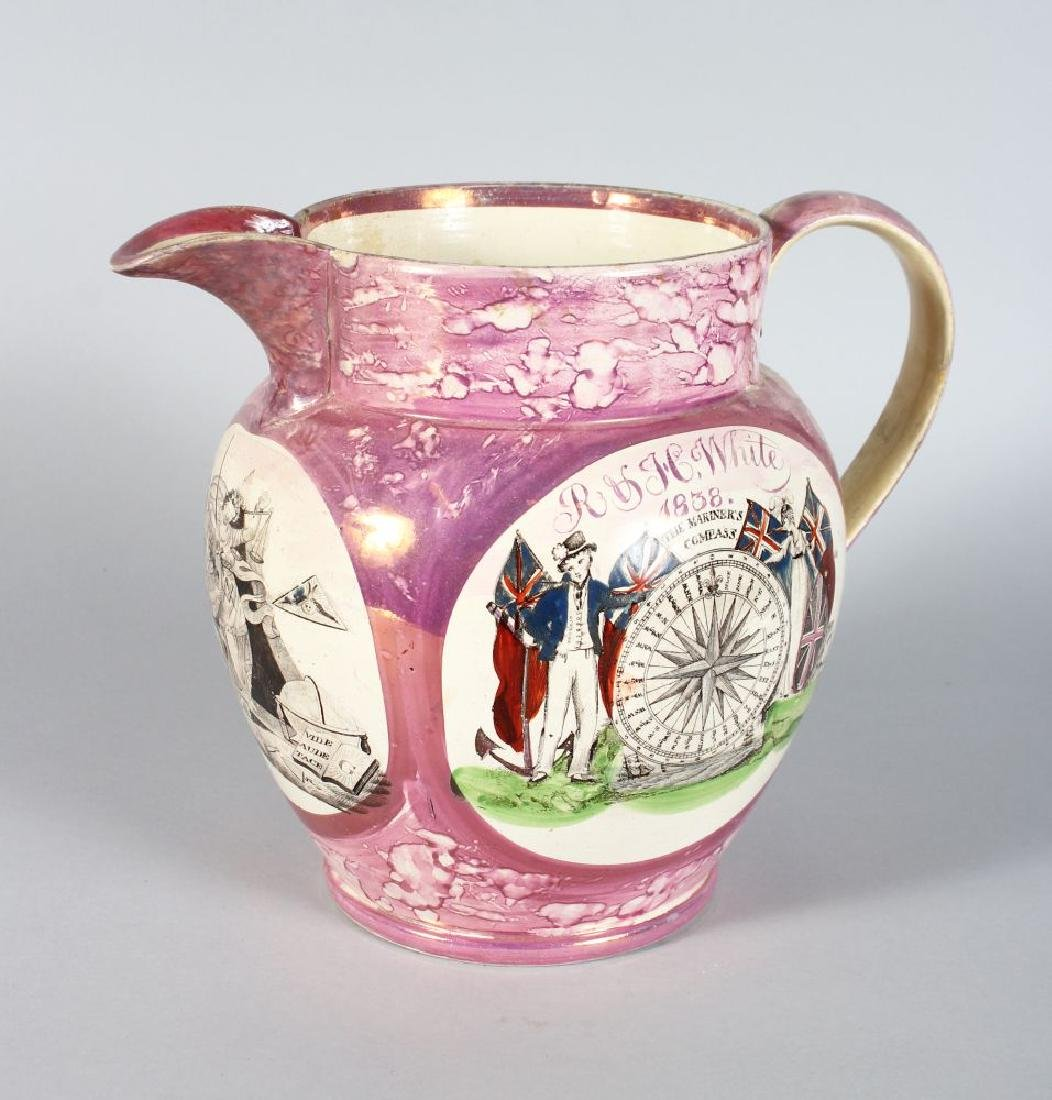 SUNDERLAND PINK LUSTRE JUG, R & H WHITE, 1838, the