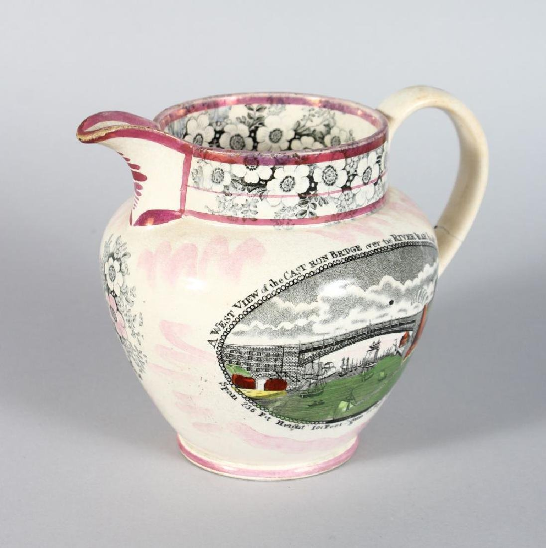 A SUNDERLAND PINK LUSTRE JUG, a west view of the cast