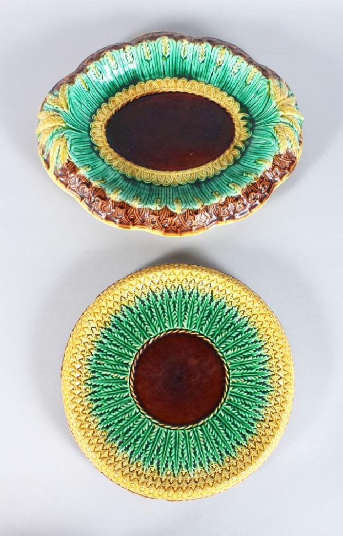 TWO MAJOLICA DISHES.