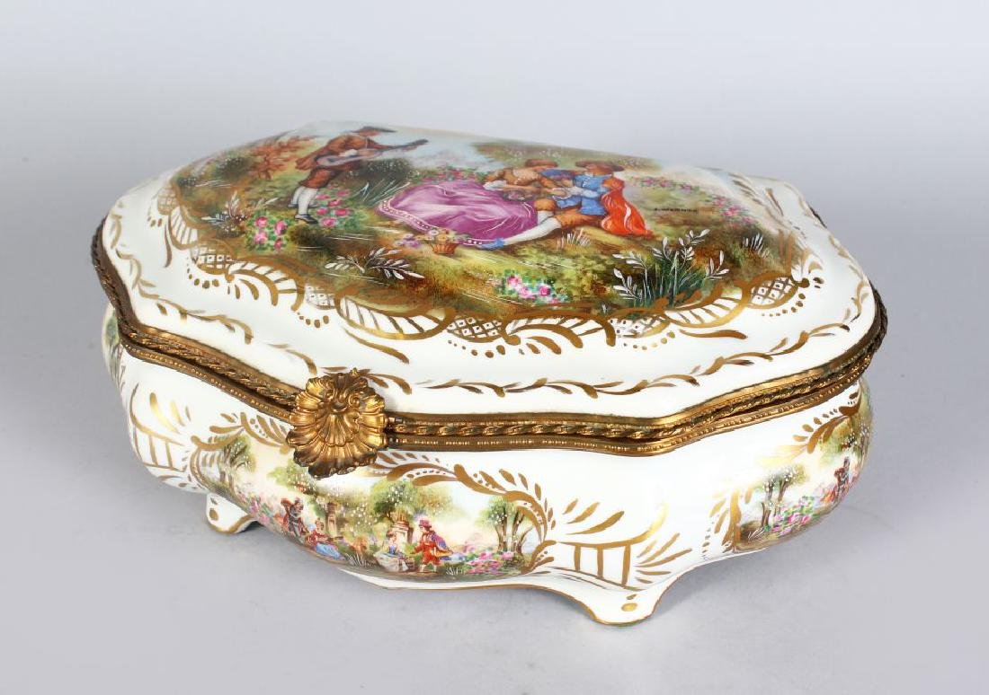 A SEVRES STYLE PORCELAIN CASKET, with ormolu mounts,