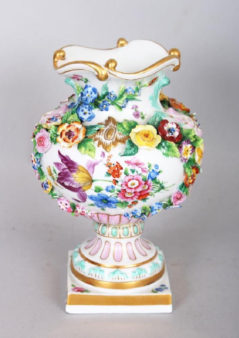A GOOD 19TH CENTURY MEISSEN FLOWER ENCRUSTED VASE,