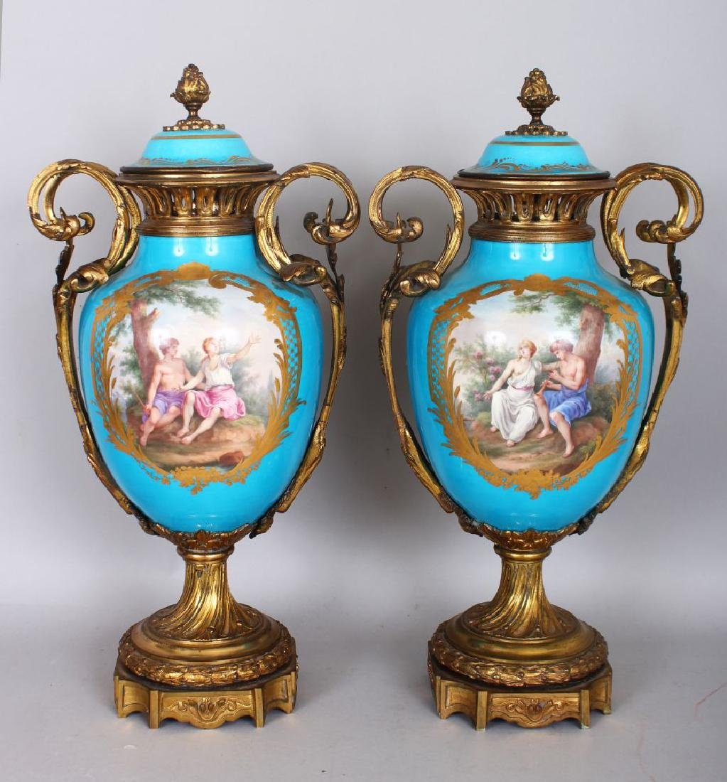 A SUPERB LARGE PAIR OF 19TH CENTURY SEVRES PORCELAIN