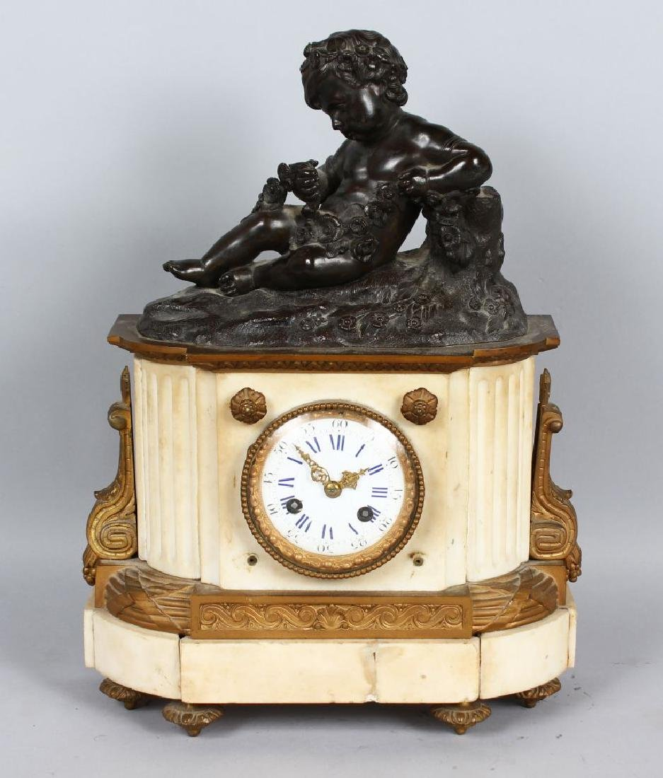 A 19TH CENTURY FRENCH WHITE MARBLE, BRONZE AND ORMOLU