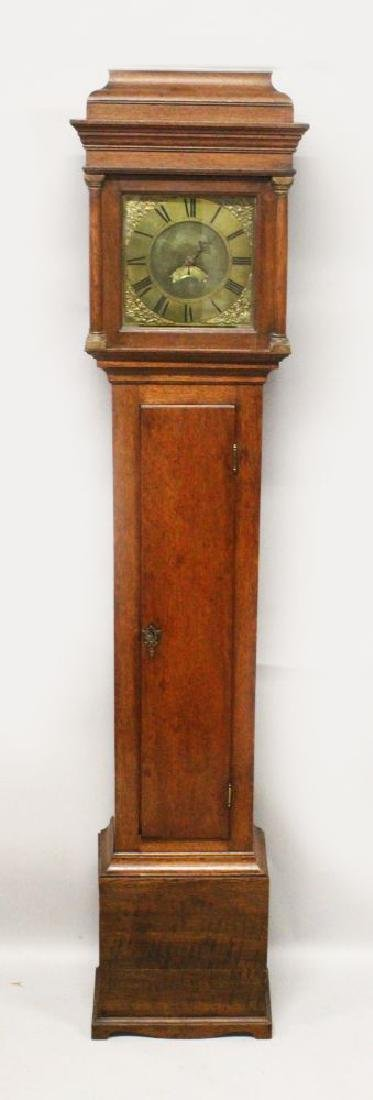 AN 18TH CENTURY OAK 30 HOUR LONG CASE CLOCK, the square
