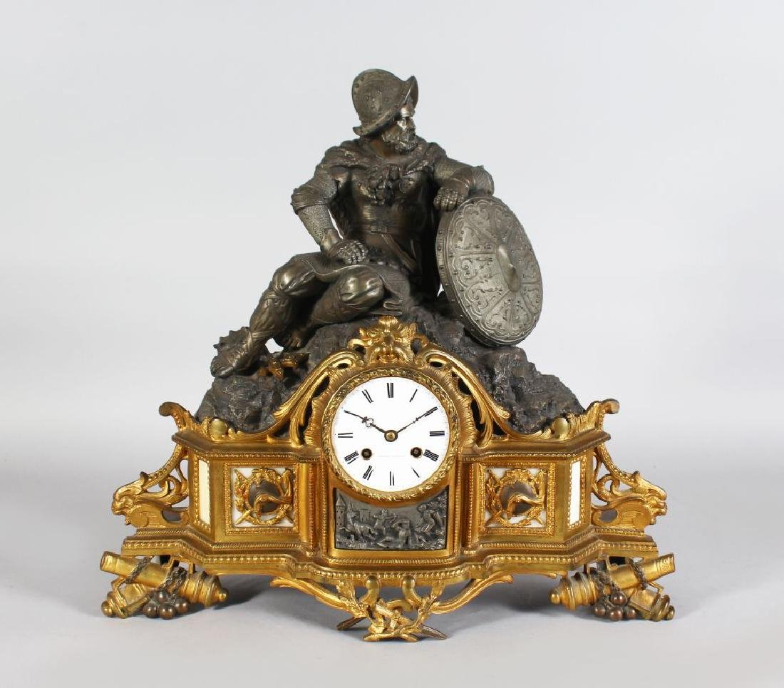 A 19TH CENTURY FRENCH ORMOLU AND SPELTER MANTLE CLOCK,