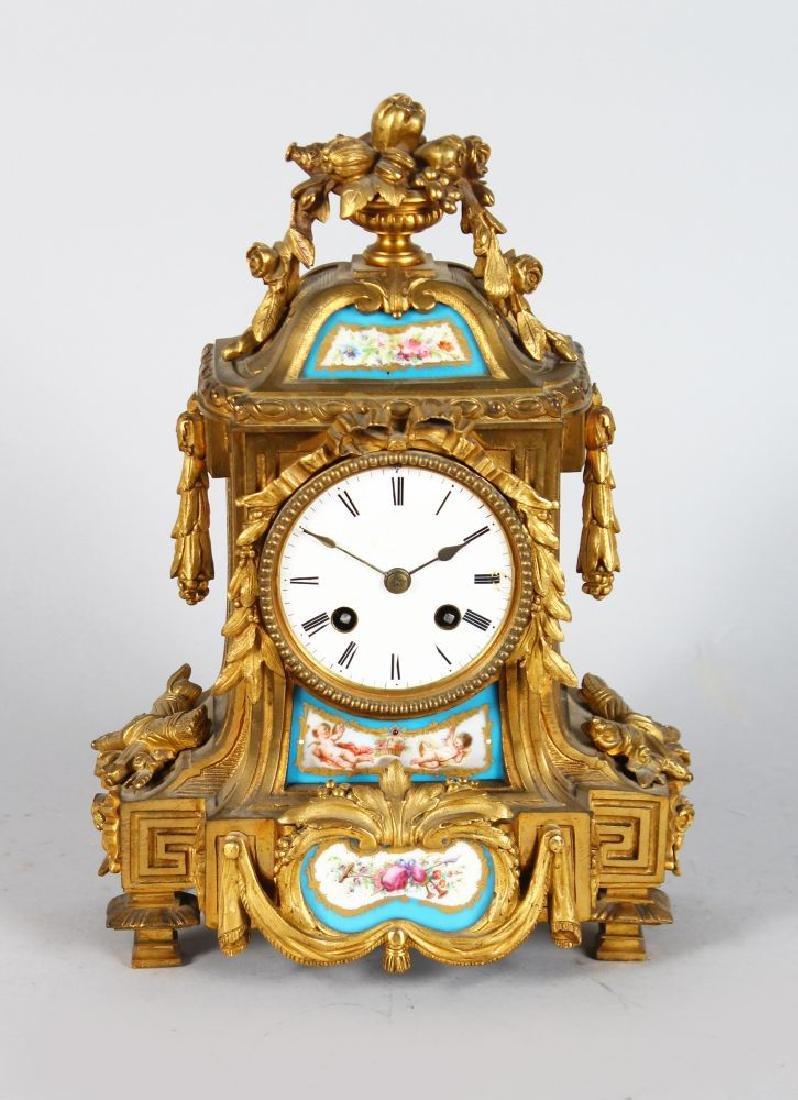 A 19TH CENTURY LOUIS XVI STYLE ORMOLU CLOCK, with
