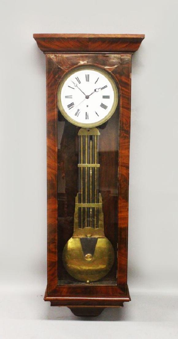 A LARGE VICTORIAN WALNUT CASED REGULATOR CLOCK, large