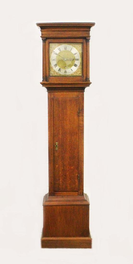 AN 18TH CENTURY OAK 30 HOUR LONG CASE CLOCK, by Philip