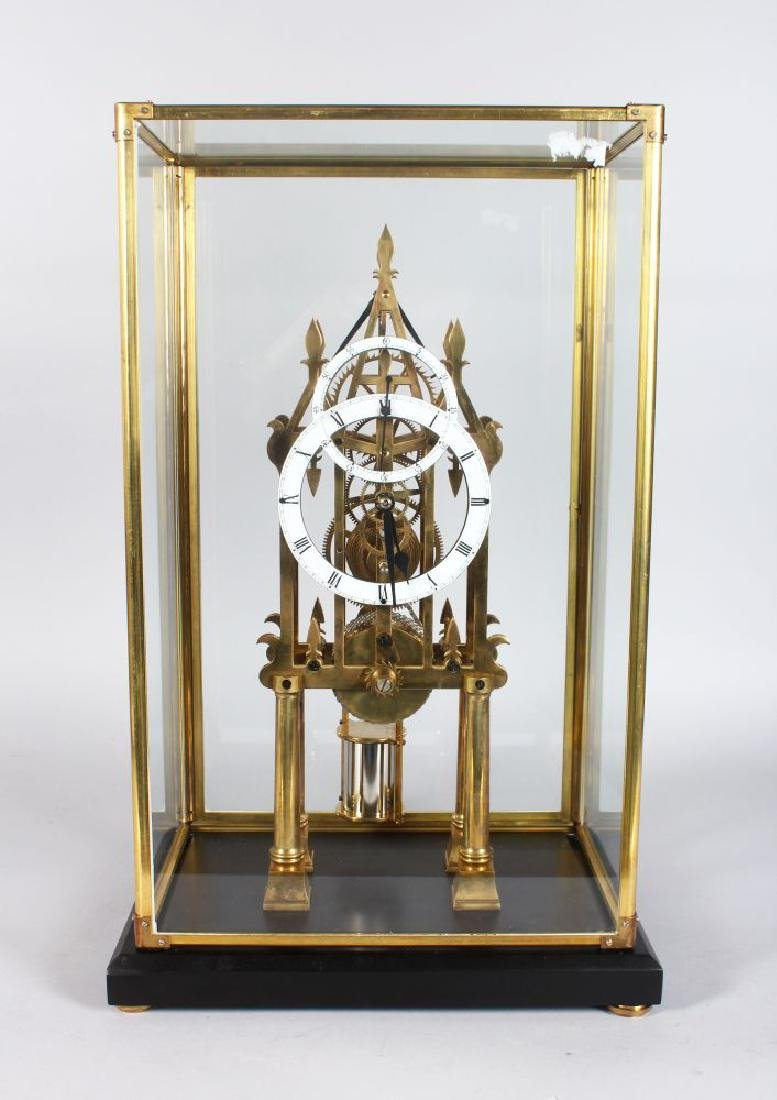A GOOD CATHEDRAL STYLE SKELETON CLOCK, 20TH CENTURY, in