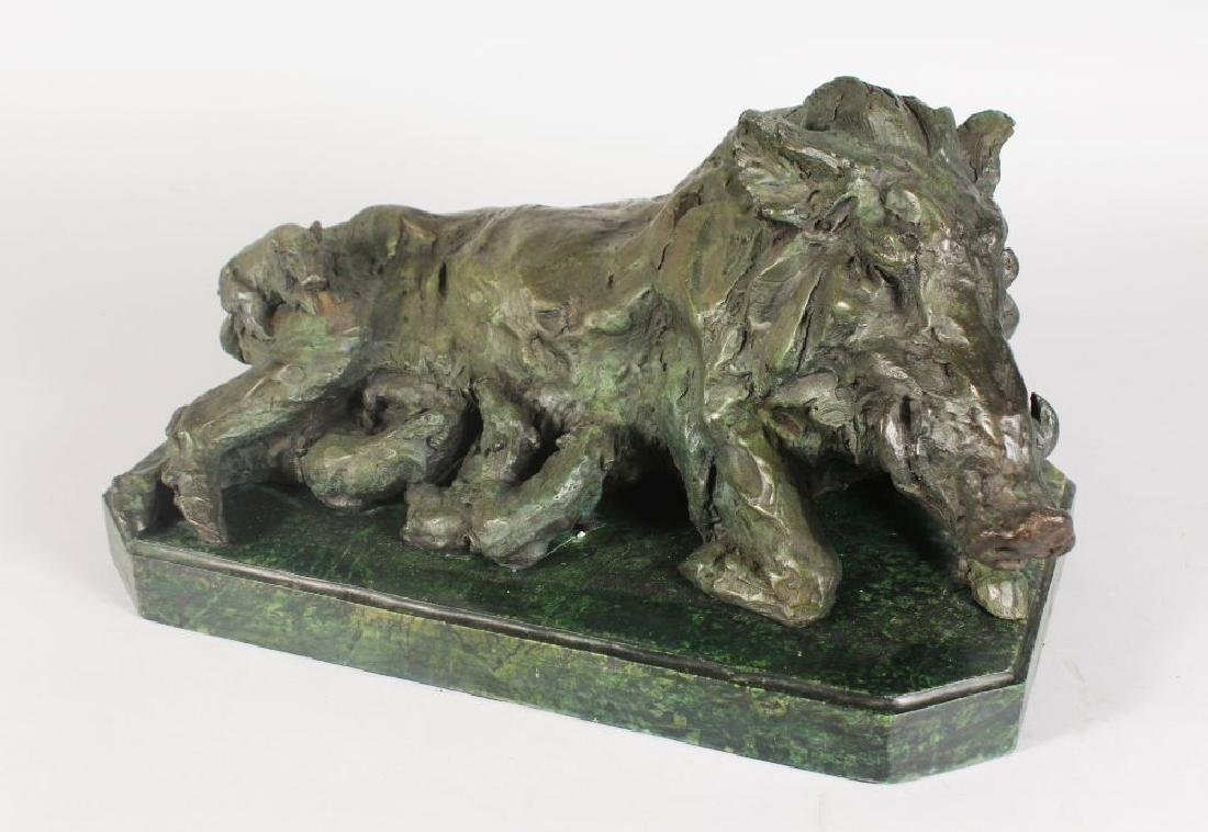 AN UNUSUAL ABSTRACT BRONZE OF A BOAR WITH ITS YOUNG, on