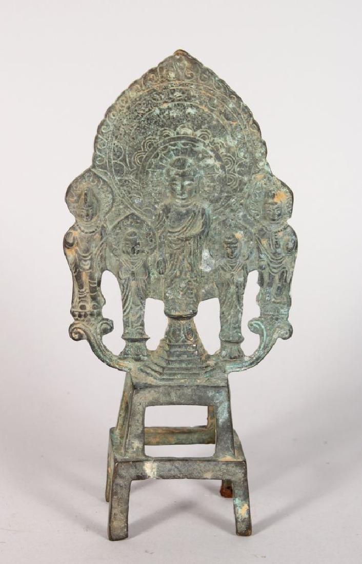 A SMALL BRONZE EASTERN SHRINE, depicting Buddha 8.5in