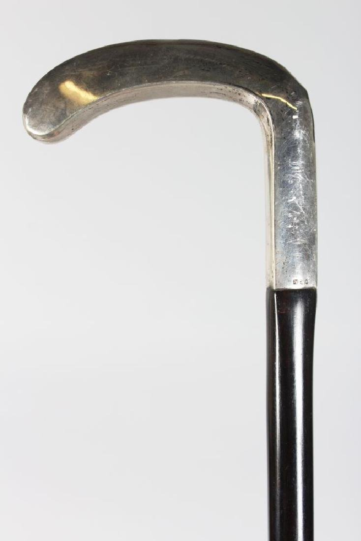 A WALKING STICK, with plain silver handle