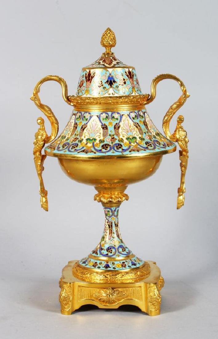 A SUPERB 19TH CENTURY FRENCH GILT ORMOLU CHAMPLEVE