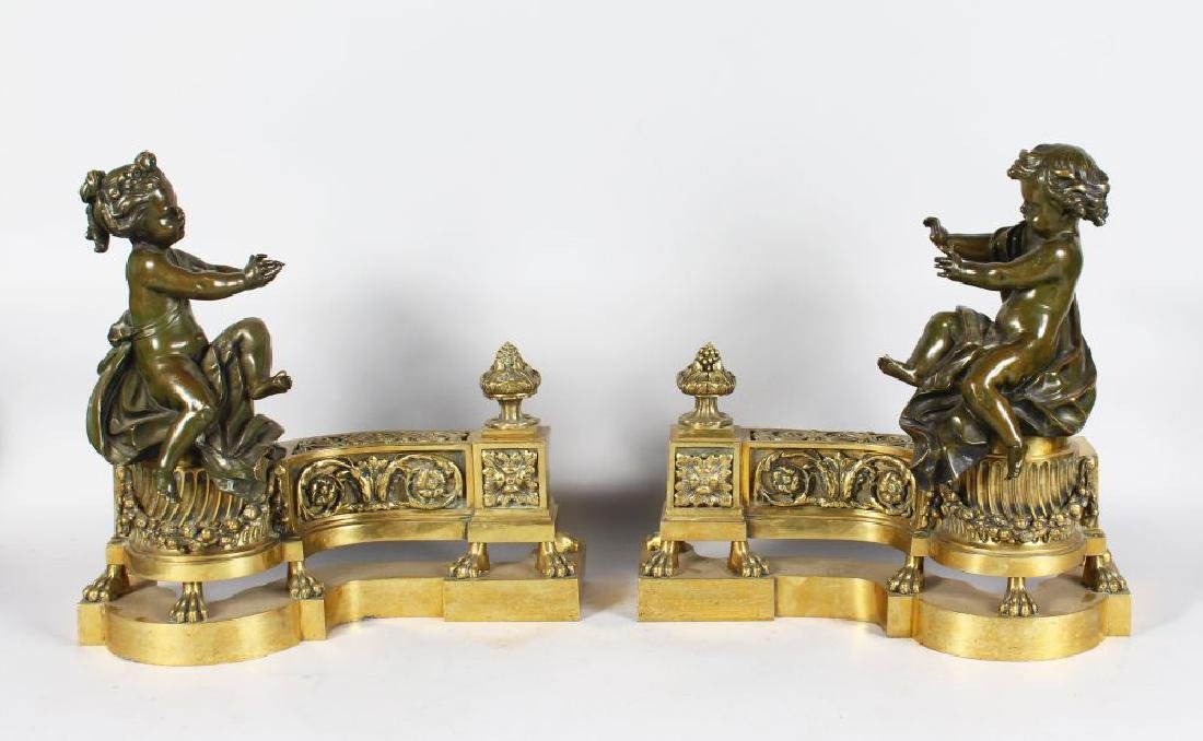 A SUPERB PAIR OF 19TH CENTURY FRENCH LOUIS XVI CHENETS,