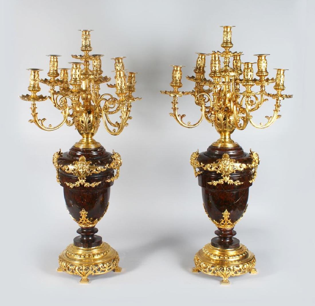 A FINE PAIR OF FRENCH LOUIS XV STYLE GILT BRONZE AND