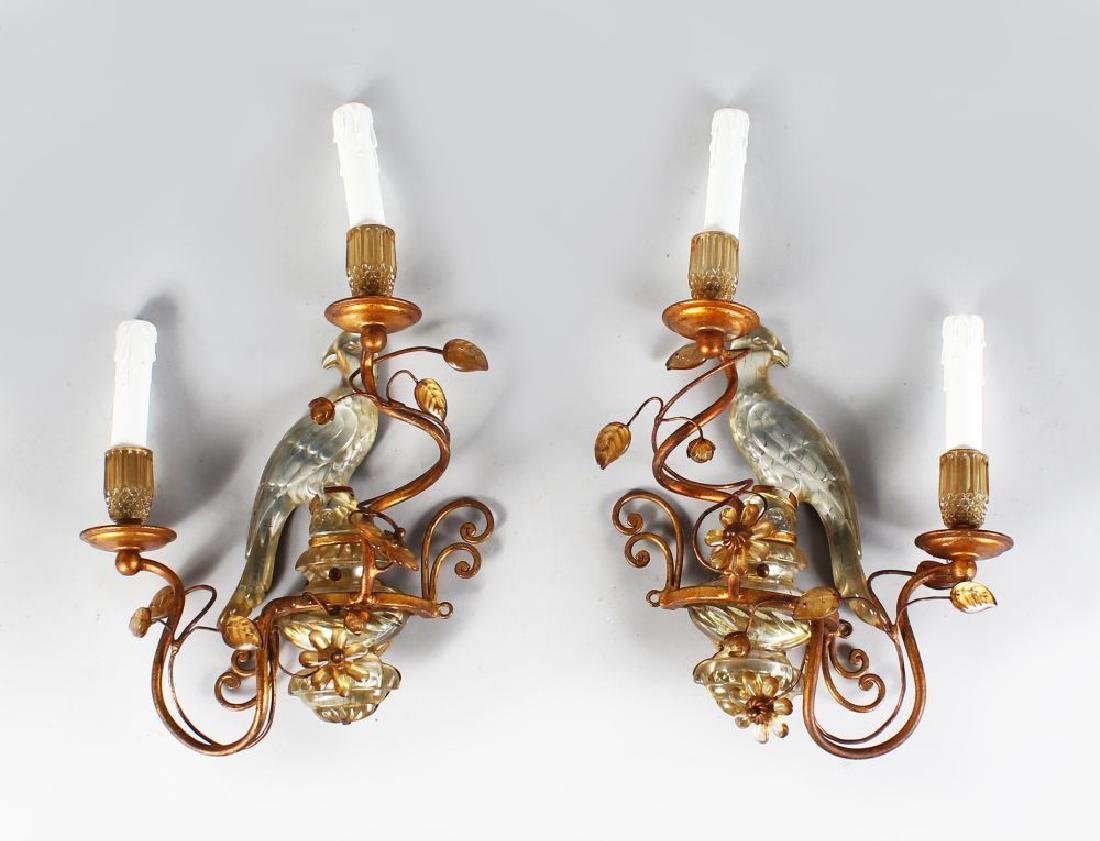 A SUPERB PAIR OF MAISON BAGUES CRYSTAL AND GILT METAL