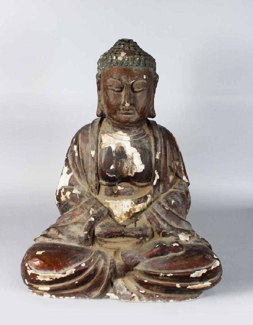 A LARGE EARLY CHINESE CARVED WOOD SEATED BUDDAH 2ft 3in