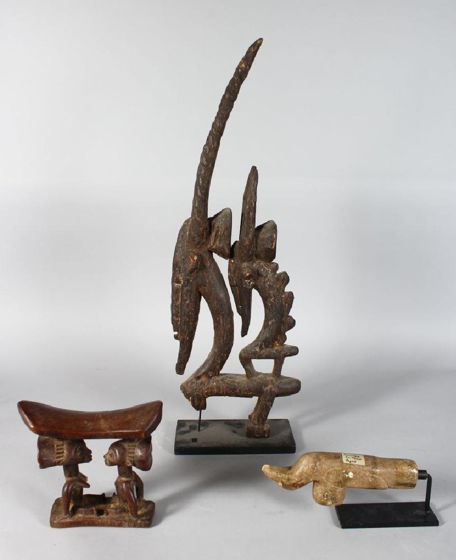 TWO AFRICAN CARVED WOOD TRIBAL ITEMS, an antelope group