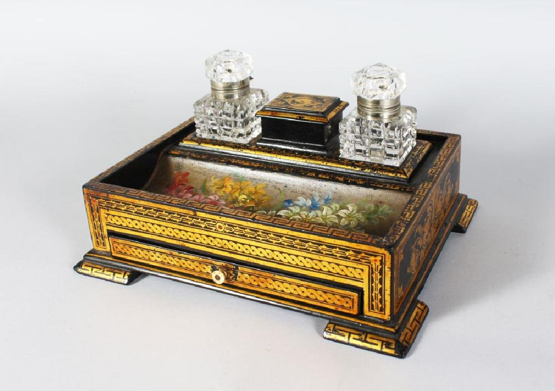 A GOOD VICTORIAN PAPIER MACHE TWO BOTTLE INK STAND,