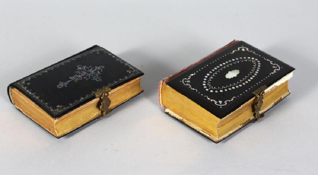 TWO PAPIER MACHE AND MOTHER-OF-PEARL PRAYER BOOKS