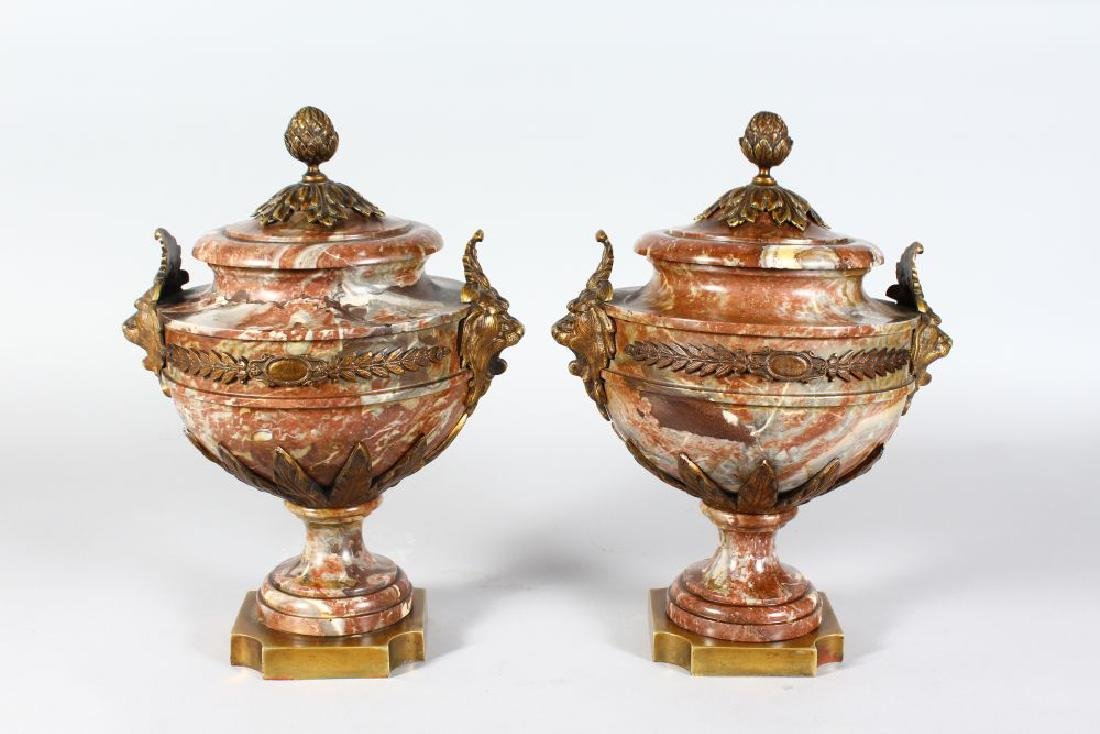 A SUPERB PAIR OF LOUIS XVITH URNS WITH ORMOLU PINEAPPLE
