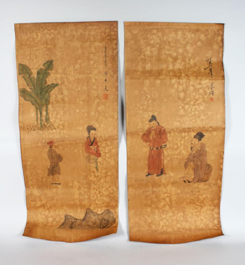 TWO CHINESE SCROLL PICTURES, decorated with figures.