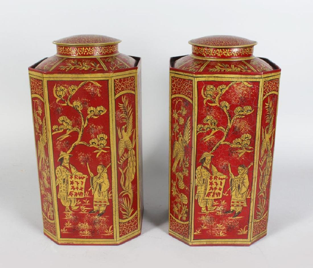 A PAIR OF CHINESE TOLEWARE CANISTERS, decorated with