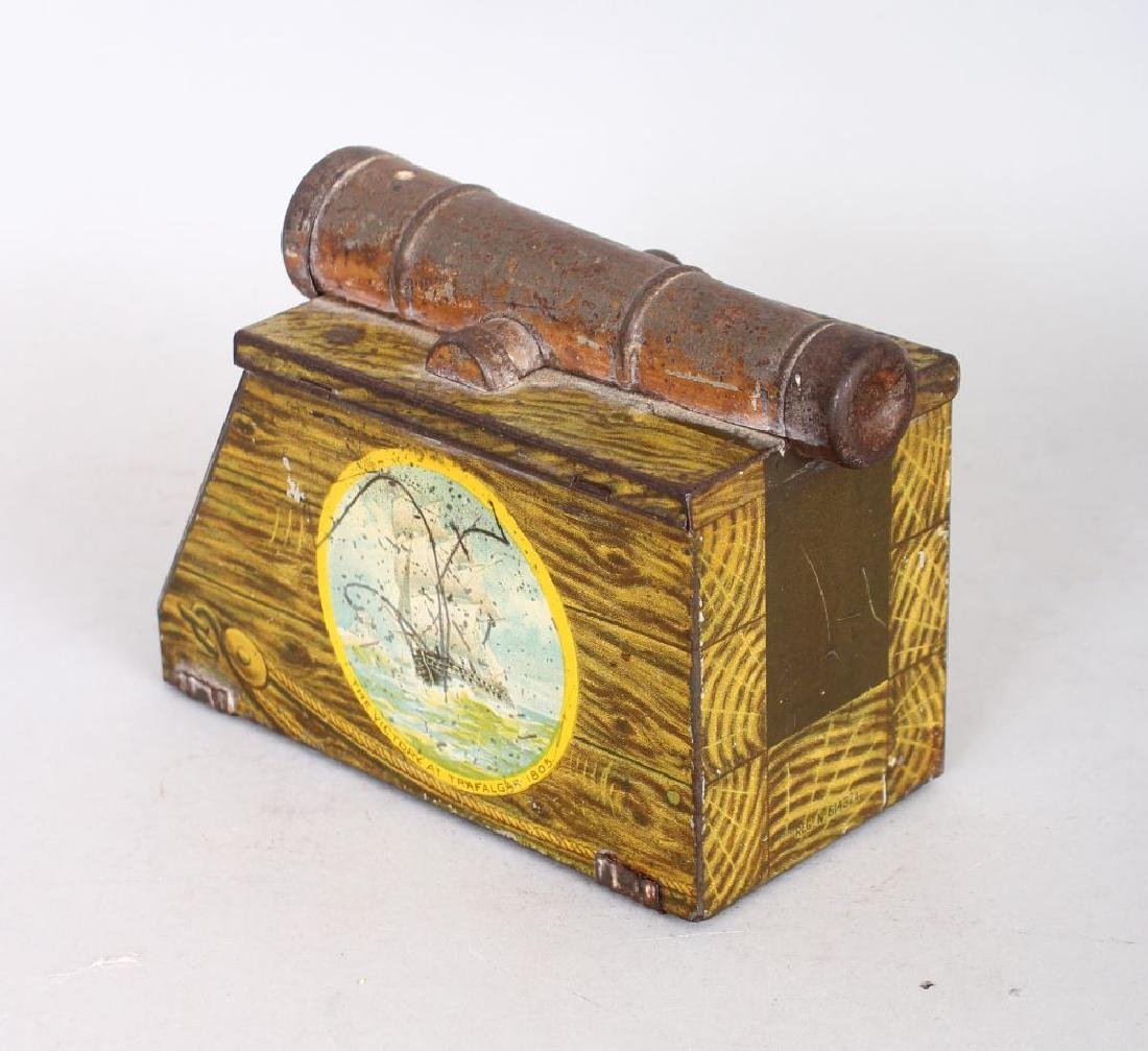 "A SMALL HUNTLEY & PALMERS ""CANON"" BISCUIT TIN."