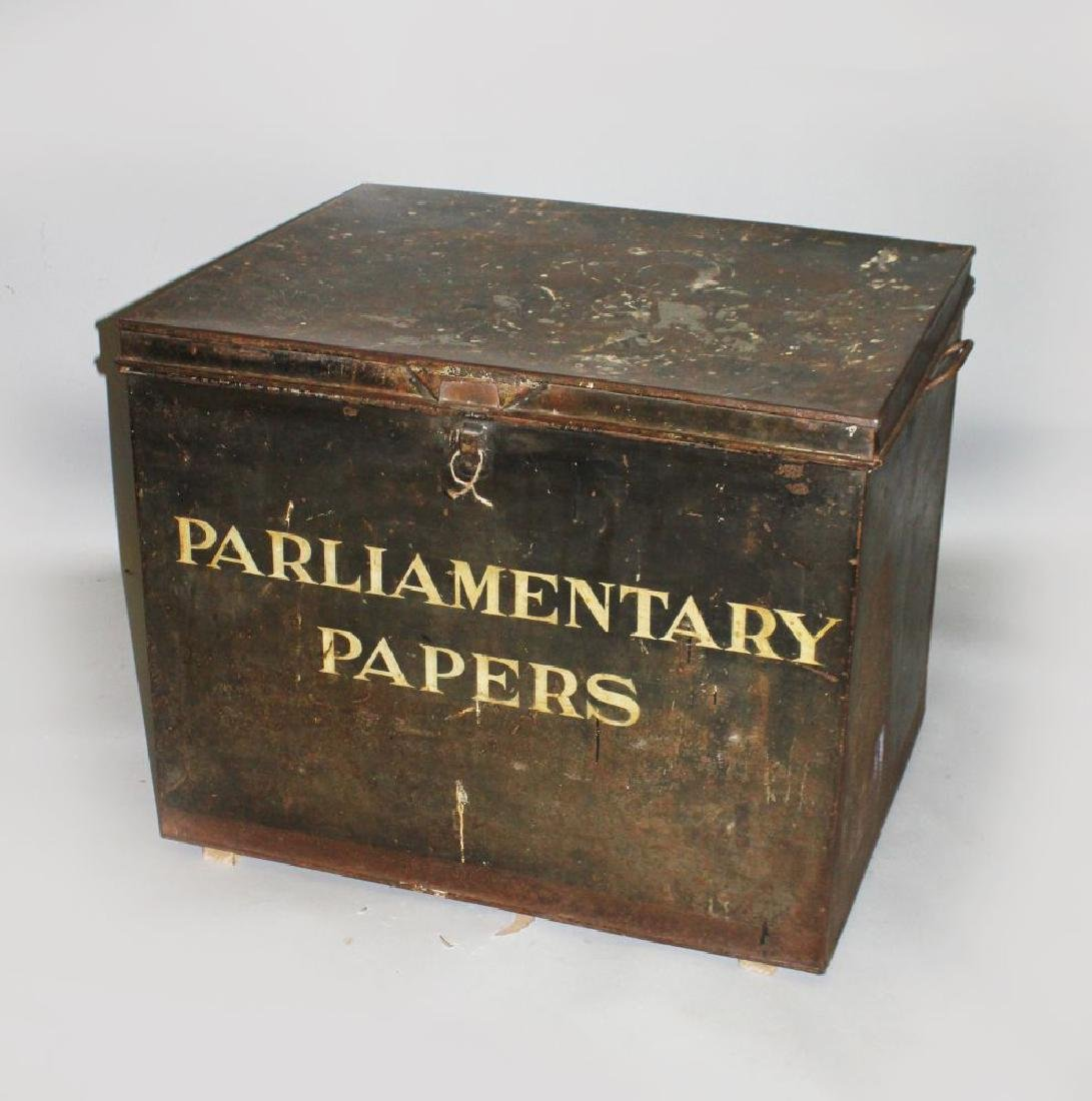 A VERY LARGE TIN DEED BOX, PARLIAMENTARY PAPER.