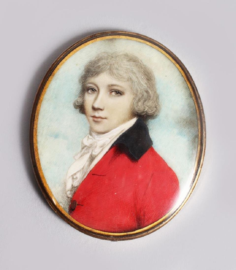 A GOOD GEORGIAN OVAL MINIATURE OF A YOUNG BOY, WITH
