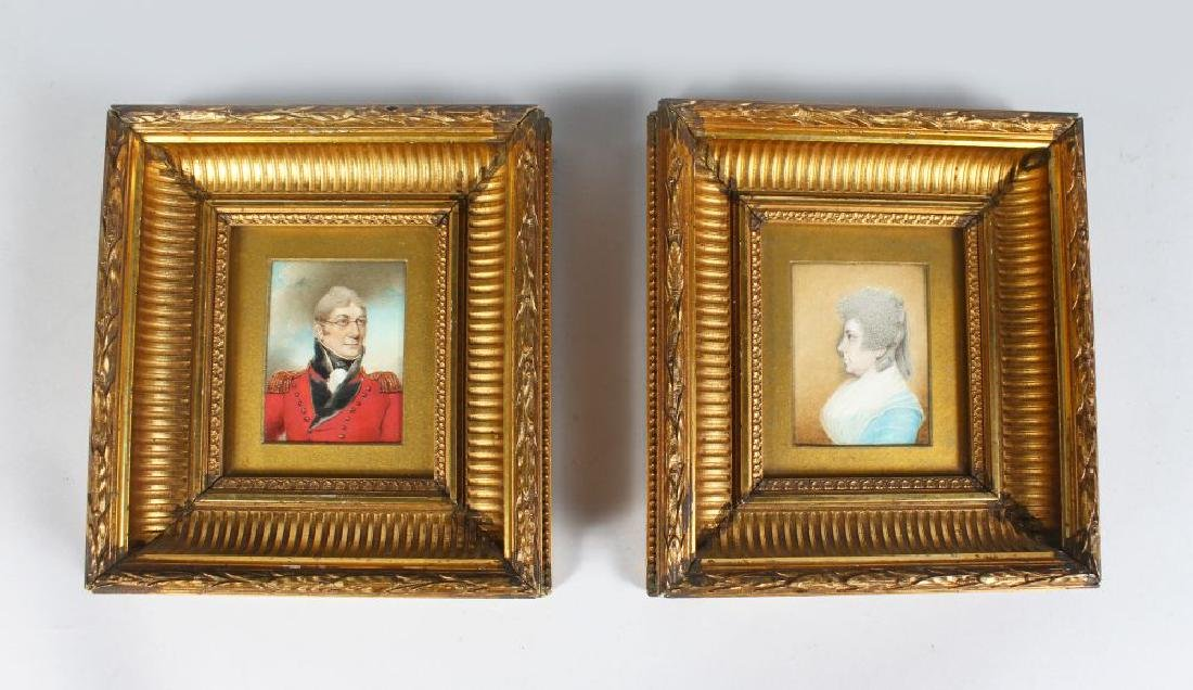 A PAIR OF GILT FRAMED PORTRAIT OF COLONEL GREENTREE AND