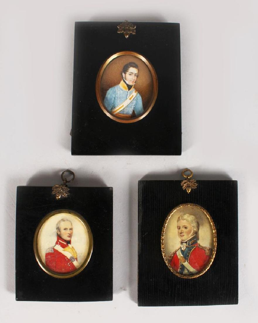THREE MILITARY PORTRAITS MINIATURES, One possibly being